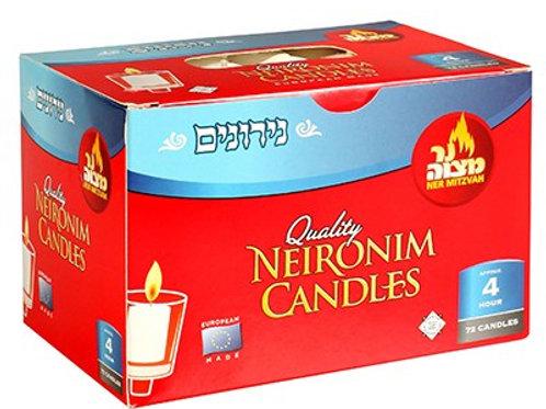Ner Mitzvah Neironim Candles 72pcs