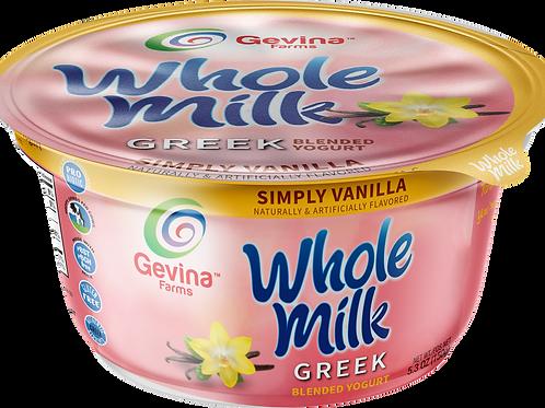 Gevina  Simply Vanilla  Greek Yogurt WHOLE MILK Blended 5.3oz