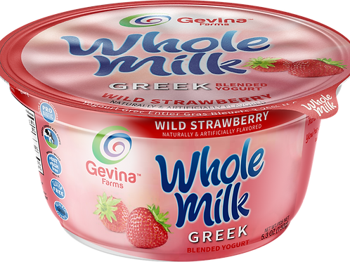 Gevina  Wild Strawberry  Greek Yogurt WHOLE MILK Blended 5.3oz