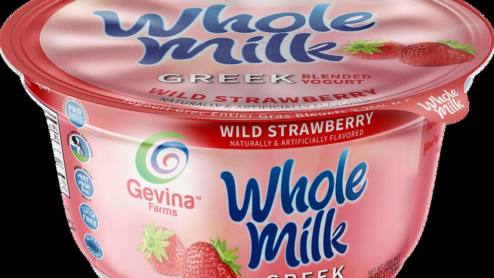 Gevina  Wild Strawberry  Greek Yogurt WHOLE MILK Blended 5.3oz