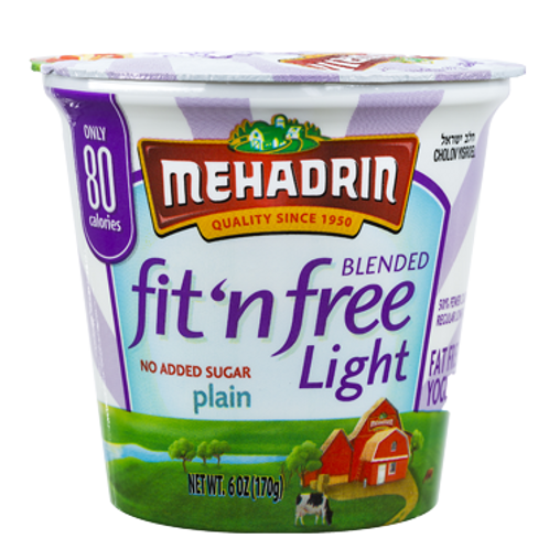 Mehadrin  Plain  Fit 'n' Free Yogurt 6oz