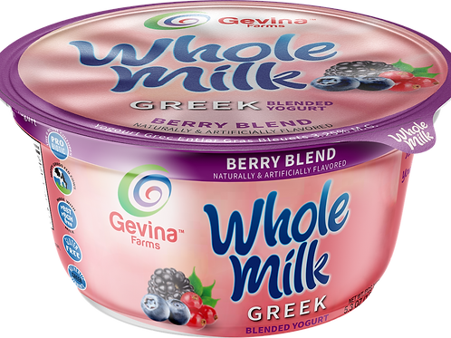 Gevina  Berry Blend  Greek Yogurt WHOLE MILK Blended 5.3oz