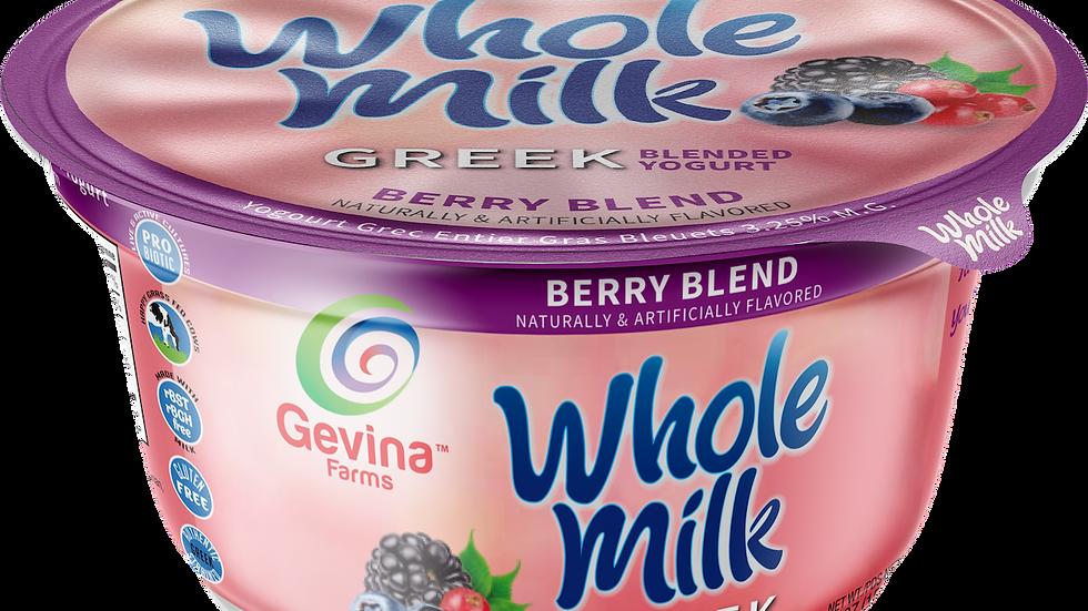 Gevina  Berry Blend  Greek Yogurt WHOLE MILK Blended 5.3oz