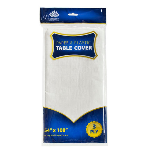 """Paper&Plastic Tablecover White 54""""x108"""""""