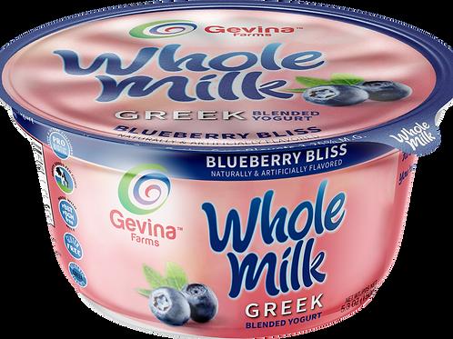 Gevina  Blueberry Bliss  Greek Yogurt WHOLE MILK Blended 5.3oz