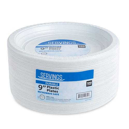 """Plastic Plates 9"""" 100ct"""