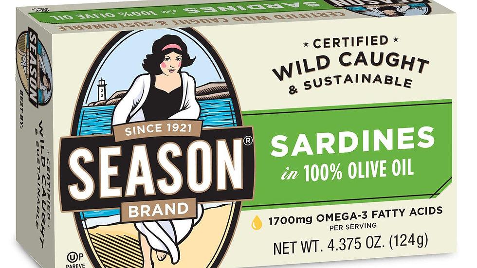 Season 2208 Club Sardines In Olive Oil 4.375oz