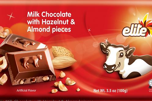 Elite Milk Chocolate With Hazelnut & Almonds 3.5oz