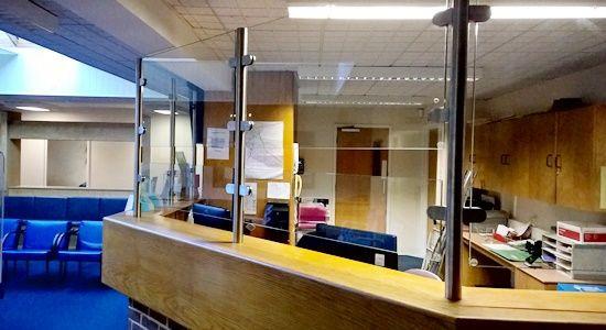 Reception desk glass
