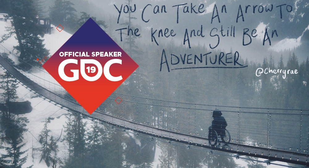 A photo of me in the mountains with an Official Speaker GDC 19 badge and the title You Can Take An Arrow To The Knee And Still Be An Adventurer