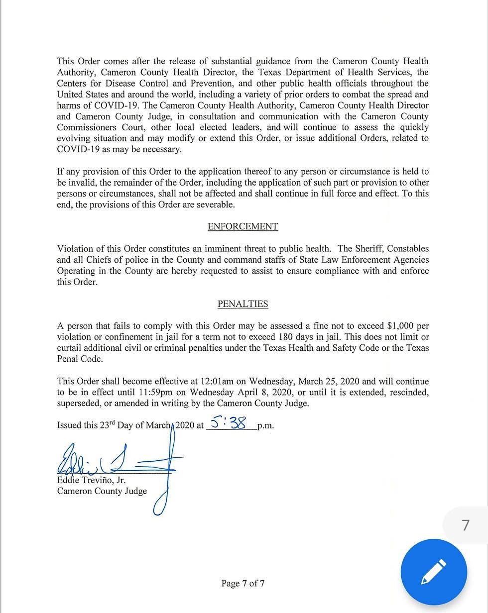 Cameron County Judge Trevino Order COVID