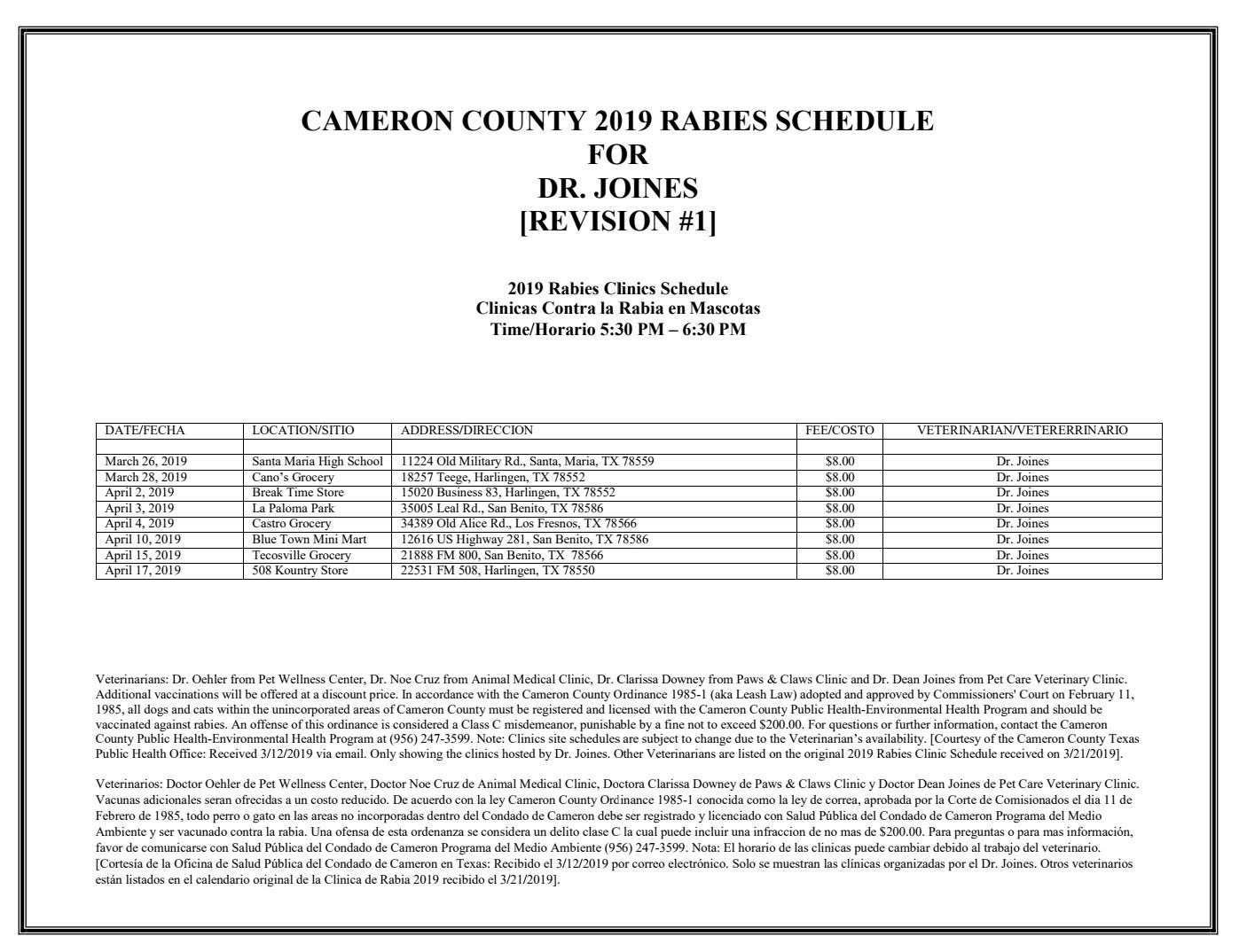 Cameron County, TX Rabies Clinic 2019.jp