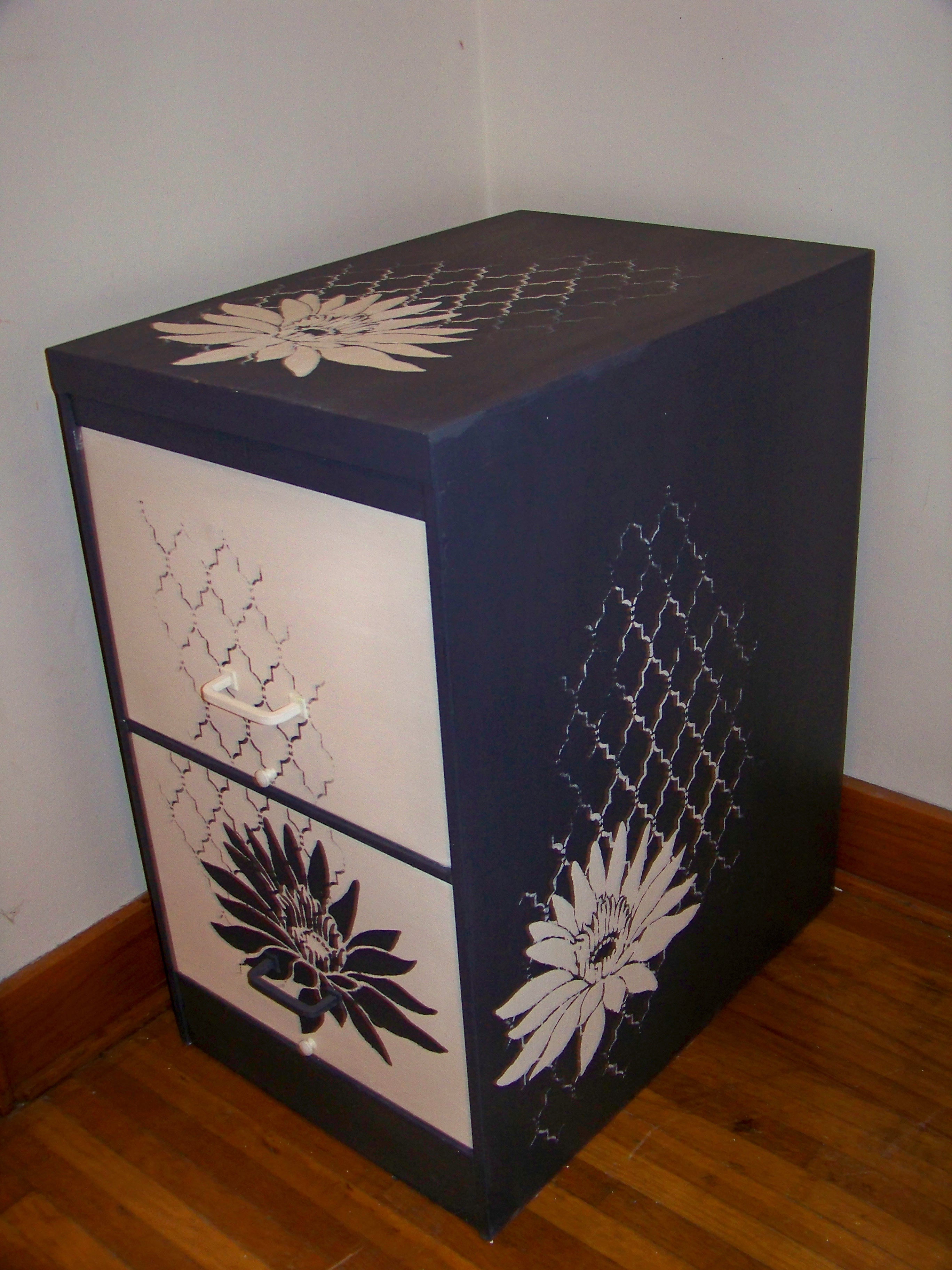 Stenciled Filing Cabinent