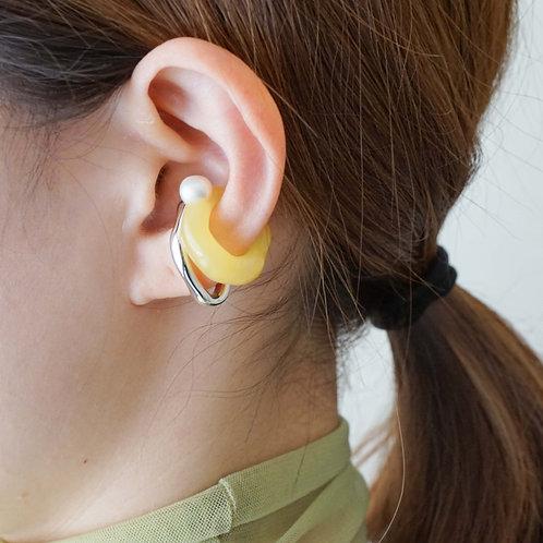 Yellow Pearl & Metal Earcuff Set