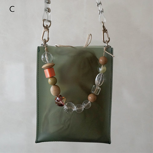 Beads Square PVC Bag -Green-