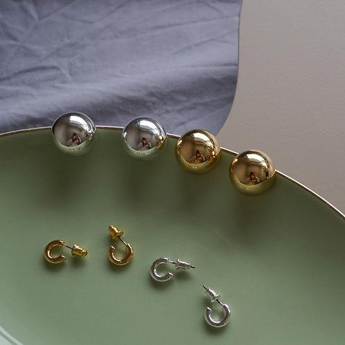 Ball & Hoop Pierce Set (SV925 Plated/14K Gold Plated)