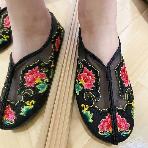 【Select Item】Mesh Flower Shoes -Black-
