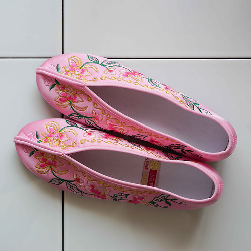 【Select Item】Big Flower Embroidery Shoes - Baby Pink-