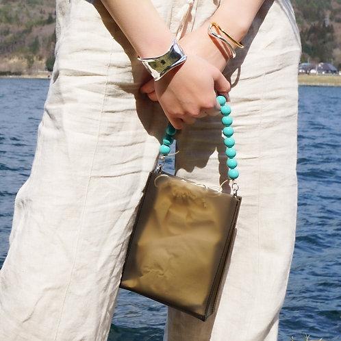 Beads Square PVC Bag -Black-