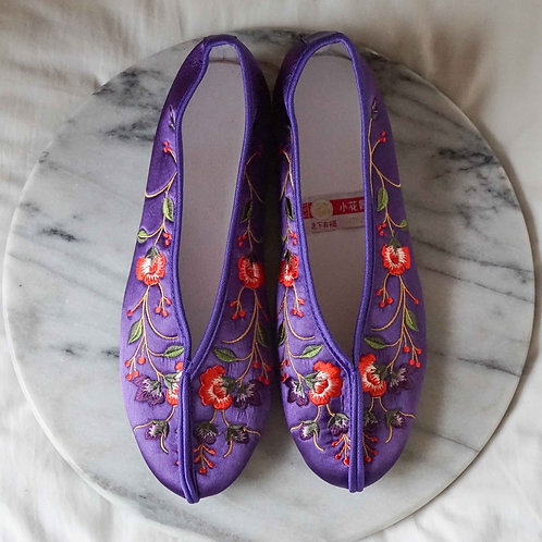 【Select Item】Flower Embroidery Shoes - Purple-