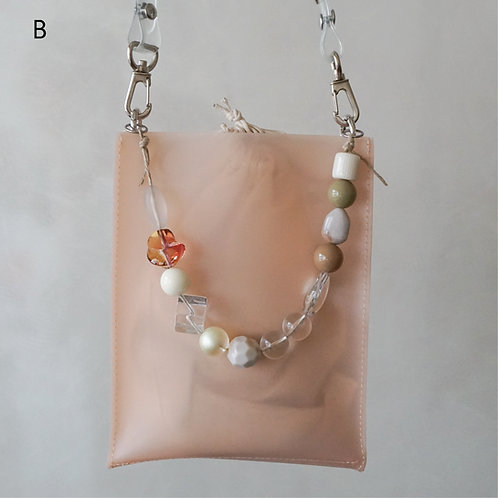 Beads Square PVC Bag -Pink-