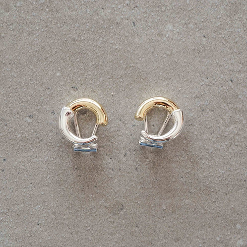 Circle Combination Earring (SV925&14K Plated)