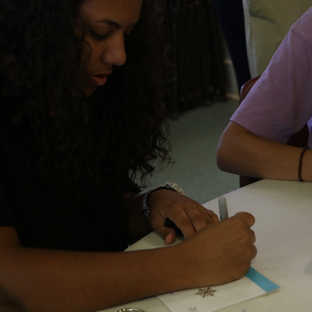 Work is nearing it's close as the students put the finishing touches on their cards.