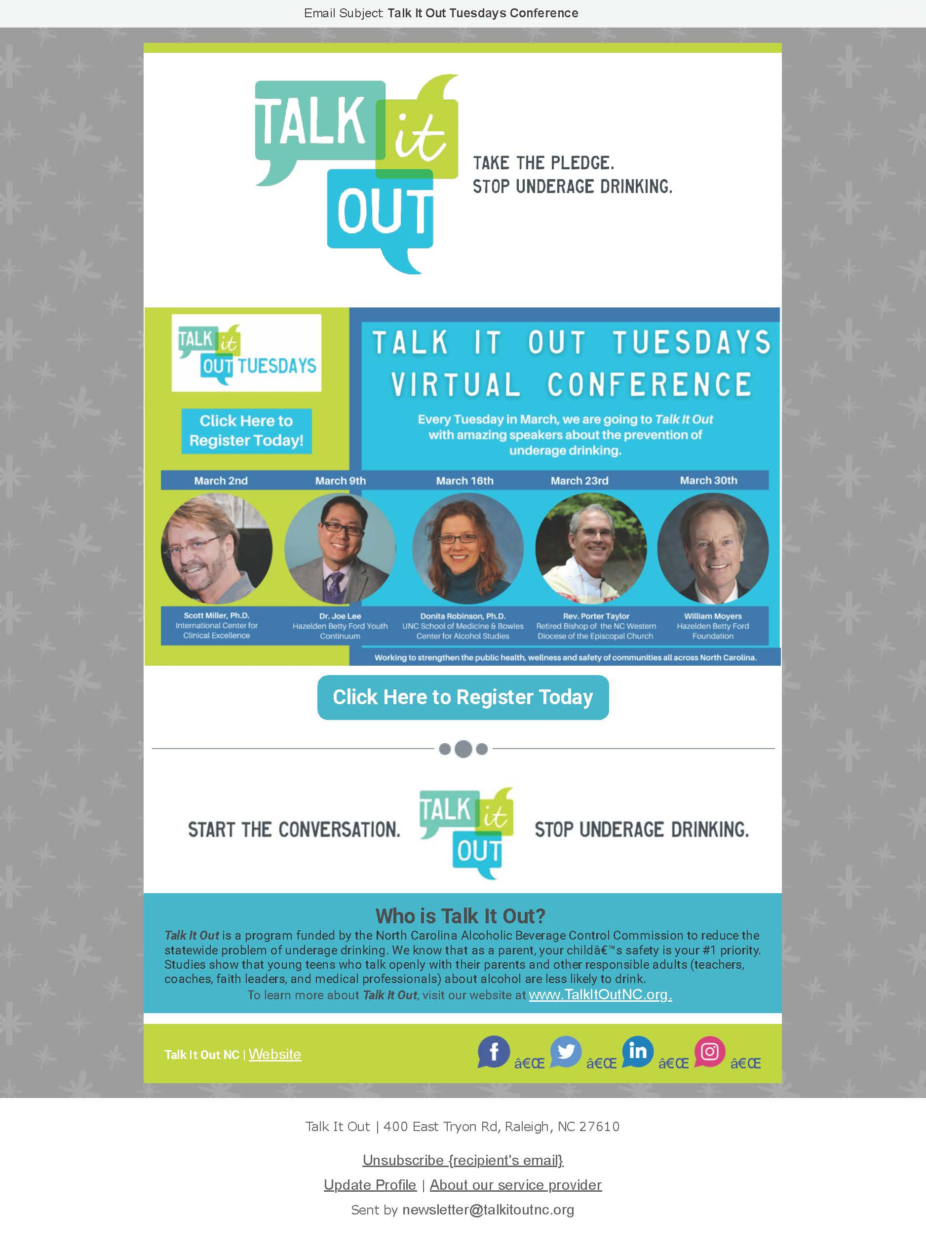 2021 Talk It Out Conference Registration.