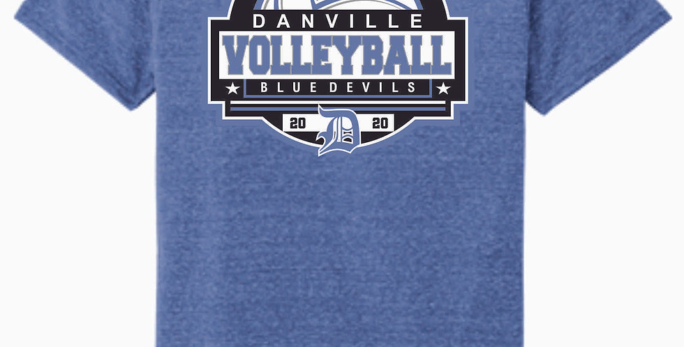 Danville Volleyball Royal Soft Jerzee Snow Heather Tee