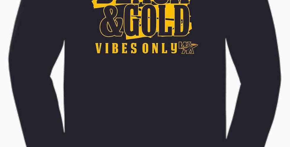 Watkins Cheer Black and Gold Longsleeve Cotton T shirt