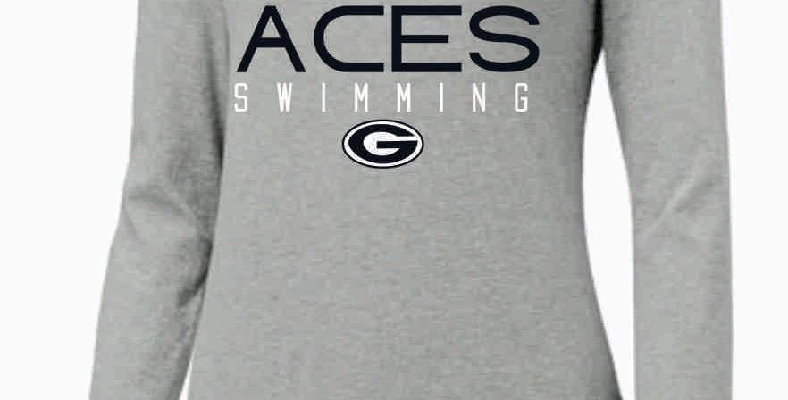 GHS Swimming Lt Grey Nike Ladies Core Cotton Long Sleeve Scoop Neck Tee