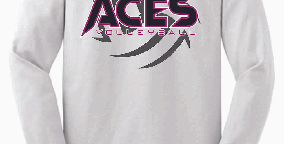 Aces Volleyball White Cotton Longsleeve Tee