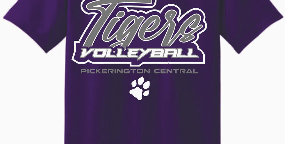 Tiger Volleyball Purple Script Cotton T Shirt