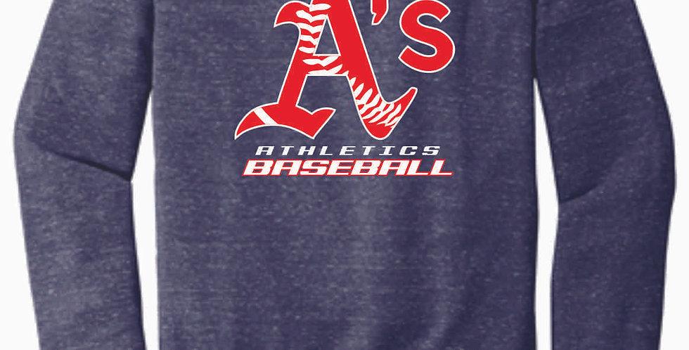 A's Baseball Navy Jerzee Vintage Grey Snow Heather Crewneck