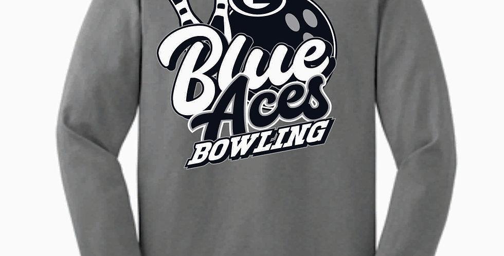 Blue Aces Grey Cotton Longsleeve T-Shirt