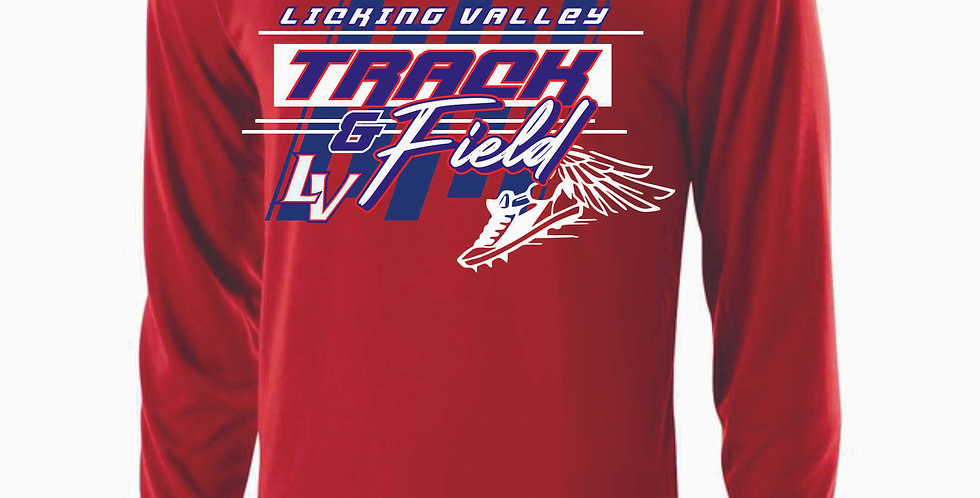 Licking Valley Track and Field Red Dri Fit Longsleeve