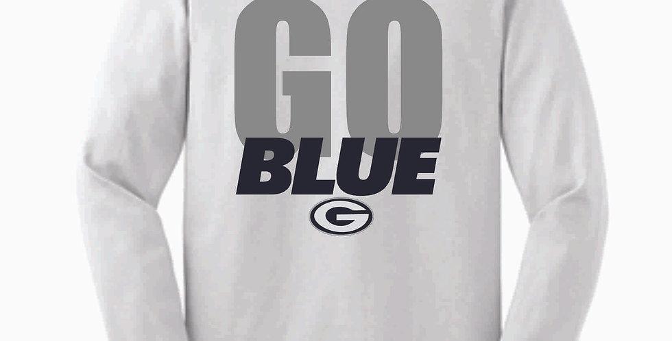 Go Blue White Cotton Longsleeve