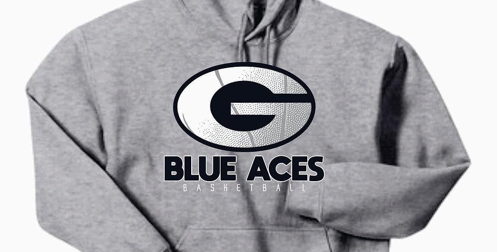 Blue Aces Grey Gildan Cotton Hoody