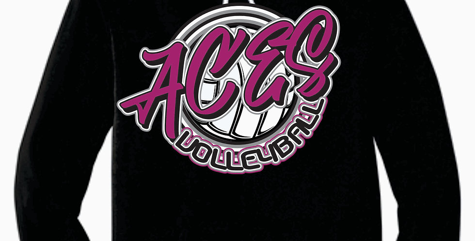 Aces Volleyball Black Script Bella Canvas Soft Hoody