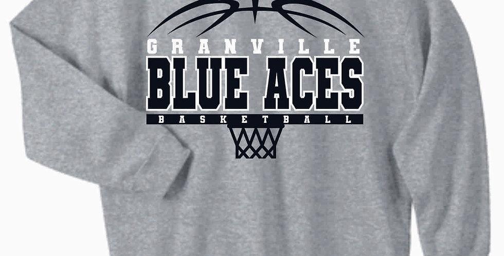 Blue Aces Grey Simple Cotton Crewneck Sweatshirt