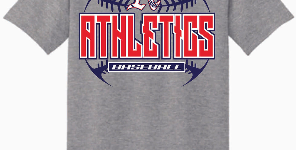 A's Baseball Grey Stitches Cotton T Shirt