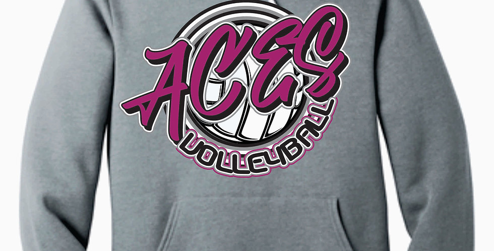 Aces Volleyball Grey Script Bella Canvas Soft Hoody