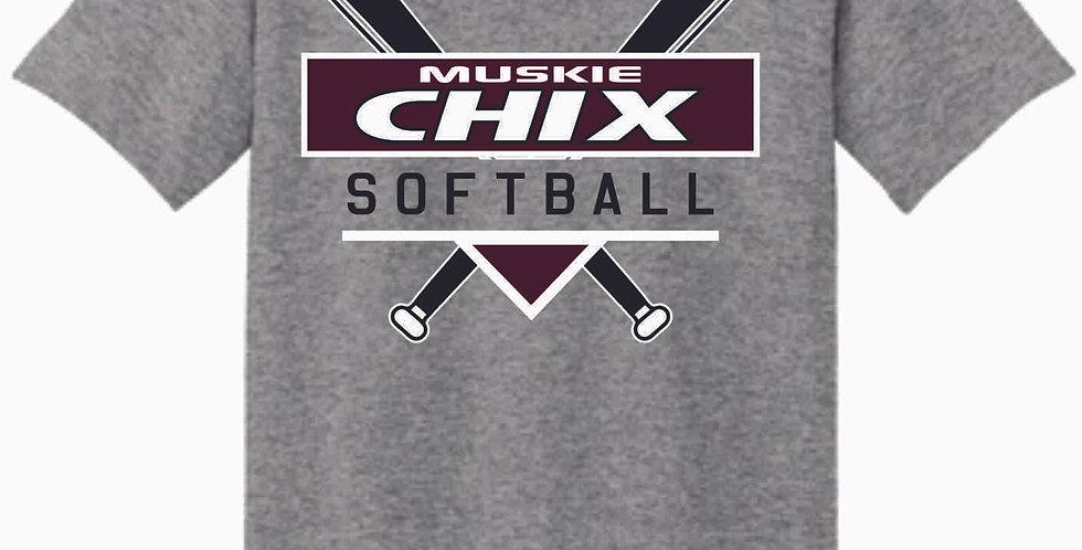 Muskie Chix Grey Cotton T Shirt