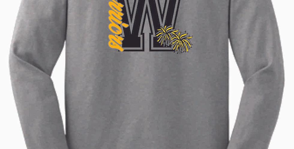 Watkins Cheer GLITTER Grey Longsleeve Cotton T shirt