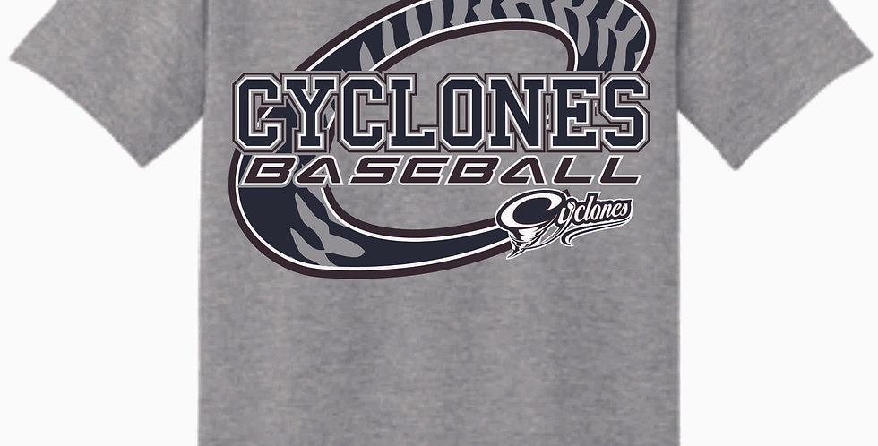 Cyclones Grey C Logo Cotton T Shirt