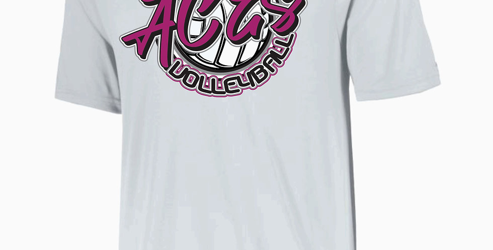 Aces Volleyball Augusta White Script Dri Fit Shortsleeve