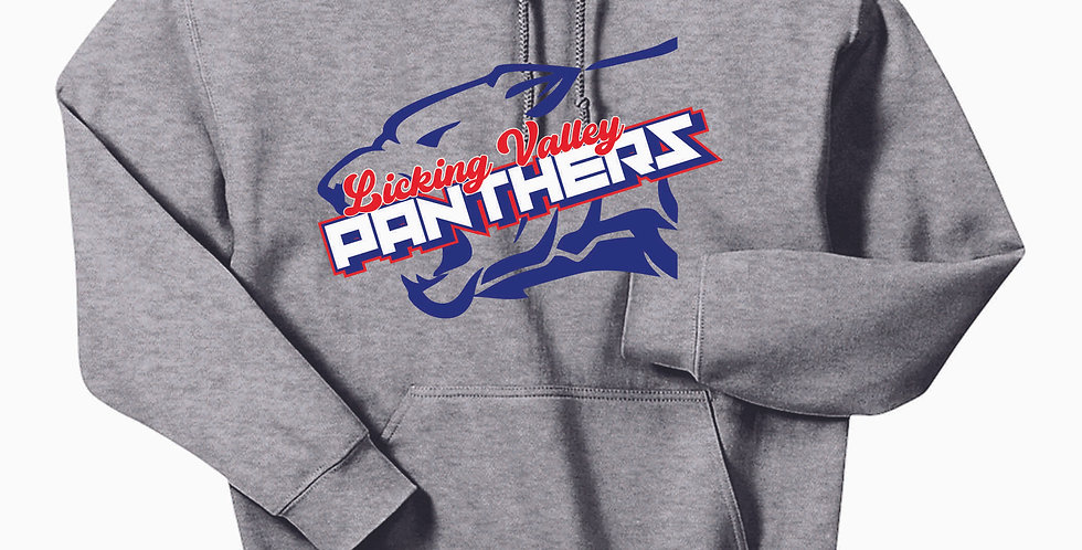 Licking Valley Panther Head Grey Hooded Sweatshirt