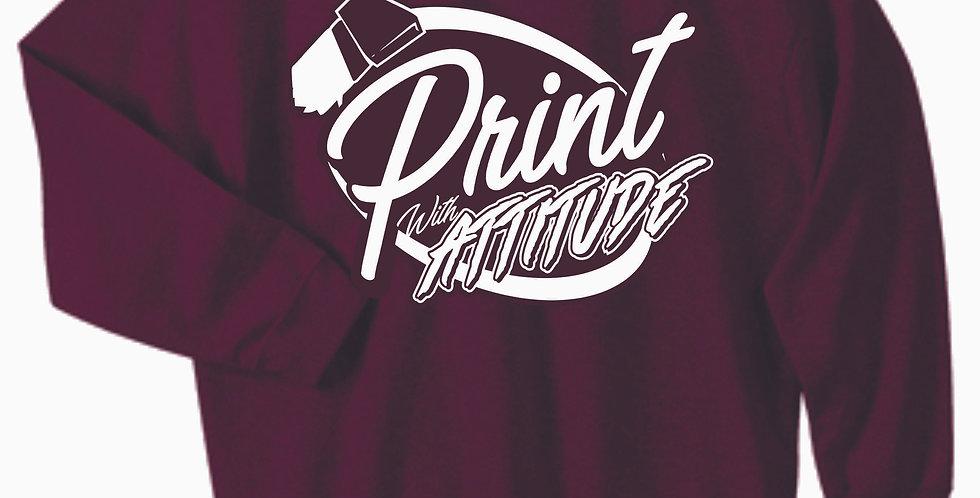Newark Youth Softball Print With Attitude Maroon Cotton Crewneck