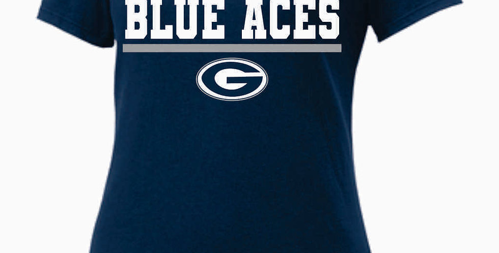 GHS Nike Blue Aces Navy Ladies Core Cotton Scoop Neck Tee
