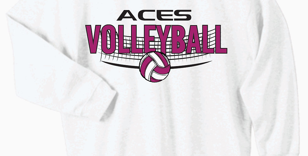 Aces Volleyball Gildan White Cotton Crew
